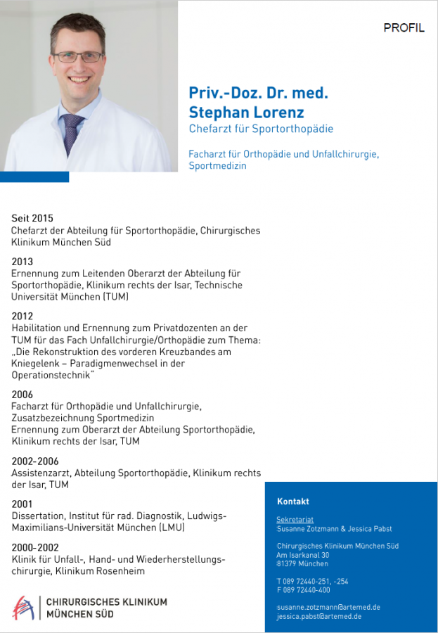 Lebenslauf Priv.-Doz. Dr. med. Lorenz in München – Orthopädie