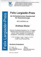 Felix Largiader Preis 2015 für die beste klin. Arbeit in der Viszeralchirurgie, anlässlich des SGC-Kongresses 2015