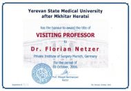 Visiting Professor an der Yerevan State Medical University